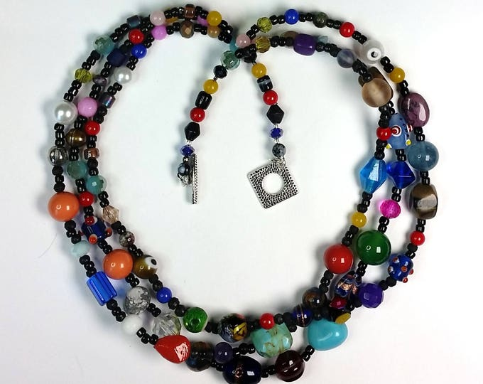 Rainbow Triple Strand Necklace - Multicolor - Colorful - Festive Necklaces