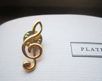 Vintage Treble Clef Pin, Vintage Music, Musicians Teachers Gift, Music Note Lapel Pin , French Clef, Key, Treble Clef 1980's Pinback