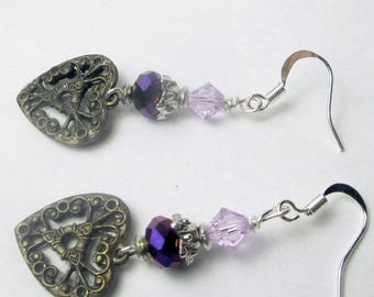 70% SALE Antique Heart charm with purple and lavender crystal earrings, dangles, heart earrings, holiday earrings, purple earrings, elegant