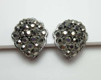 Weiss Earrings Rhinestone Signed Metallic Marcasite Gray Clip Ons Signed 9200