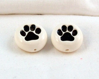 Paw Print Polymer Clay Beads