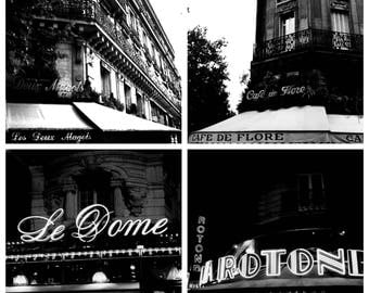 Parisian cafes, architecture photography, home decor, travel wall art, photography collection, living room art, black and white ( 4) prints
