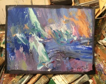 Expressive modern contemporary abstract seascape  painting  original acrylic art