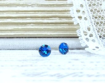 Small Blue Earrings Blue Crystal Studs 4mm Earrings Tiny Blue Earrings Surgical Steel Tiny Studs