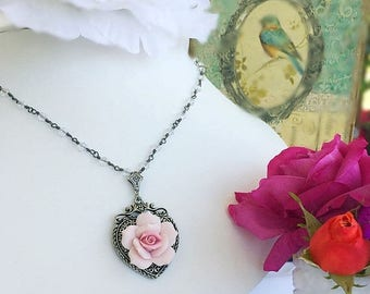 SALE 20% Off Victorian Necklace - Rose - Birthday Gift - Romantic - SWEET ROMANCE