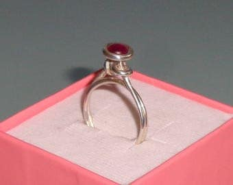 Pink Tourmaline Sterling Silver Knot Ring Round Cabochon