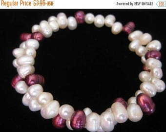SUMMER SALE SALE - Cultured Pearls Memory Wire Bracelet- 13 Inches - 1 pc