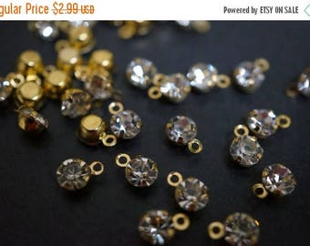 SUMMER SALE Tiny 18K Gold Plated Clear Crystal Round Pendants  - 5mm - 20 pcs