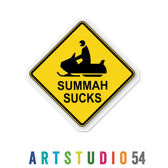 Weatherproof Vinyl Sticker - Summah Sucks - Summer Sucks - Unique, Fun Sticker for Car, Luggage, Laptop - Artstudio54