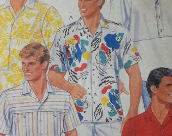 1980s Mens Shirt Pattern Mccalls 2379 Mens Classic Shirt Mens Size 36 Chest 36 Waist 30 Hips 37 Beach Boys Jimmy Buffet Style