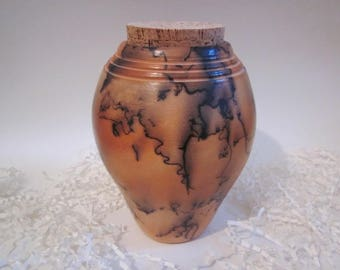 Pet Urn, Raku fired Urn, pet or human urn, Cremation Urn, Ashes Jar, Raku horsehair, Ashes Holder, pet memorial