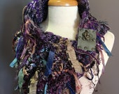 Reserved - Handknit Boho Cowl with leather clasp closure, 'Fetish' Series, Knit Collar, Jewel tone, purple Cowl with fringe, hand spun yarns