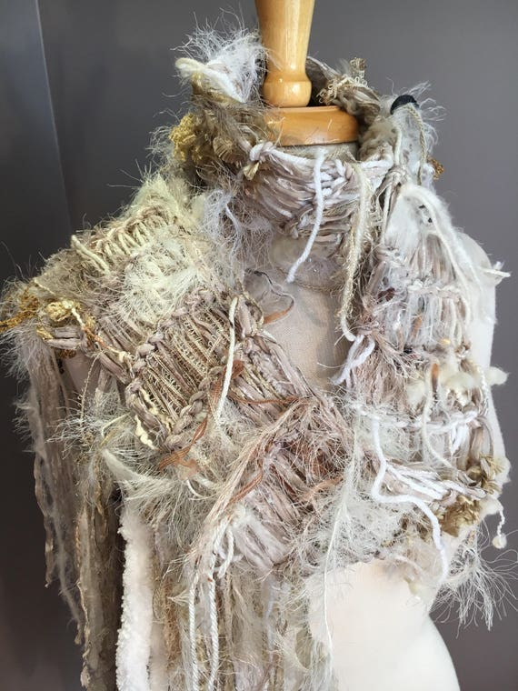 Knit Ribbon Fringed Scarf with faux fur, cream ivory taupe gold scarf, art scarf, women gift, accessories, fringe fashion, elegant, artwear