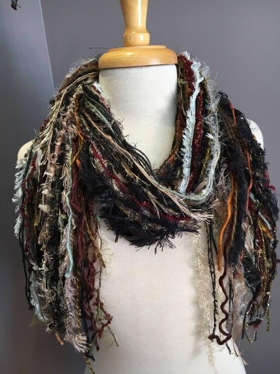 Fringie scarf , Fringe art yarn scarf 'Earthly', handmade, Fringe Scarf, sage rust black scarves, art yarn scarf, boho fashion, necklace