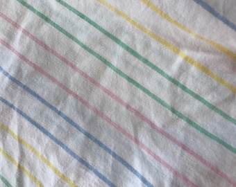 One Yard of Vintage Sheet Fabric. Multicolored stripe