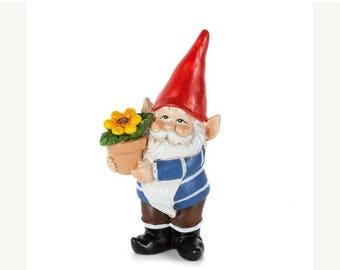 Save25% Gnome-Miniature Garden gnome-Sunflower pot Resin gnome-fairy garden decor-Terrarium supplies