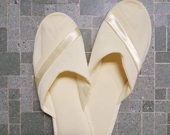 Vintage Slippers 70s Lingerie  Yellow Slippers with Ribbon Trim, Size Medium
