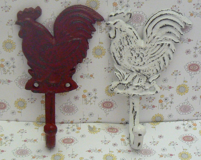 Rooster Hook Rustic French Country Red Shabby Chic White A Pair Set Hooks