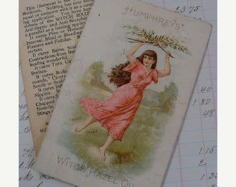 ONSALE Rare Antique Medical Druggist Witch Hazel  Lithograph Trading Card