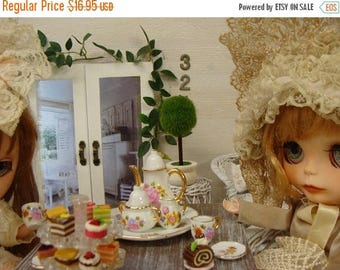 ONSALE Blythe Tea Set Beautiful Fancy Pink Roses  Shabby Chic Dollhouse China Tea Set Plus extra dessert plates