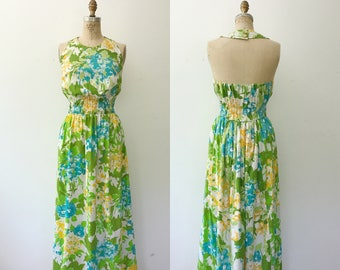 vintage maxi dress / Summer maxi dress / Cosmos Bouquet dress