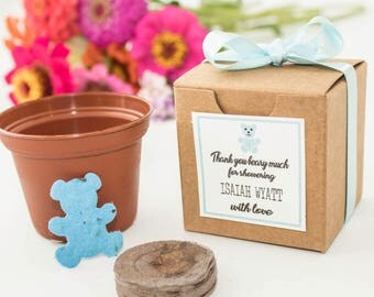 Baby Bear Baby Shower Favor Mini Flower Garden Gift Set - Personalized Plantable Seed Paper Bear for Boy, Girl & Gender Neutral Baby Showers