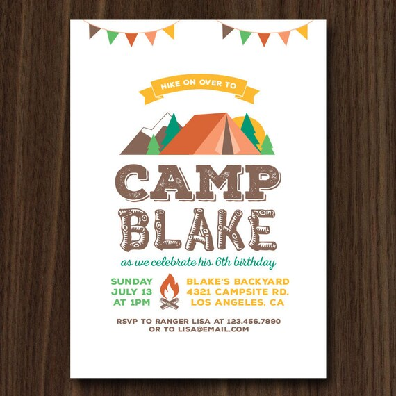 digital file camping invitation camp invitation camping party
