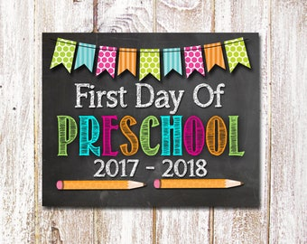 First Day Of Preschool Sign, First Day Of Prek Sign, First Day Of School Sign, Back To School Photo Prop, 8x10 Printable - Instant Download