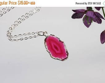 ON SALE Small Pink Agate Necklace, Agate Pendant, Boho Jewelry, Boho Necklace, Layering Necklace, Silver Plated Agate Slice Jewelry, APS130