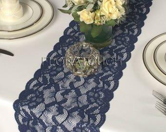 Navy Blue Lace Table Runner Wedding Table Runner LBN04