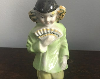 Vintage Mid Century Hand Painted Kneeling Asian Girl with Fan Figurine