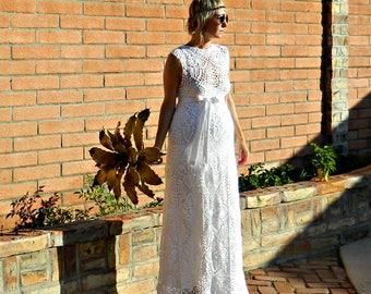 Maternity Wedding Dress-Maternity Dress-Wedding Dress-Couture Wedding Dress-Crochet Lace-Boat Top & Skirt Pineapple Motif-Bride Collection