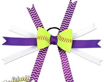 25% OFF SALE: Softball Hair Bow - Purple White Chevrons
