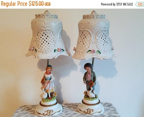 Christmas in July Sale Pair of vintage ceramic bisque figural lattice work hand painted boy and girl with geese and pie lamps French Provinc