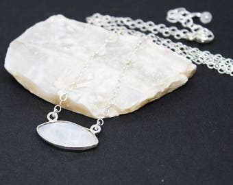 Rainbow Moonstone Gemstone . Sterling Silver Pendant Necklace . Crackly White . N16096