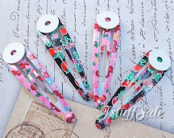 30 pcs - DIY Glue on pad Snap hair clips (Strawberry & Cherry )