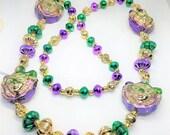 50% Off Unique Mardi Gras Vintage Necklace Masked Faces Gold Purple Green 5144