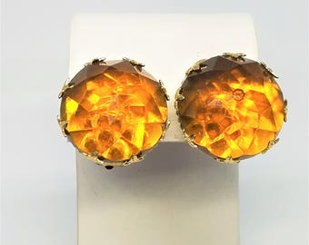 West Germany Vintage Earrings Topaz Gold Tone Faceted Clip On