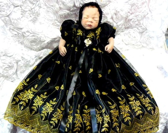 GOWN Black Organza Metallic Gold Embroidered GOTHIC REBORN or Baby