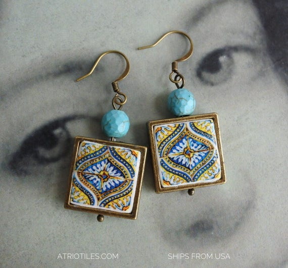 Earrings Portugal Tile Azulejo Antique Turquoise 17th Century Blue Gold (see photo) Majolica   Waterproof and Reversible 746