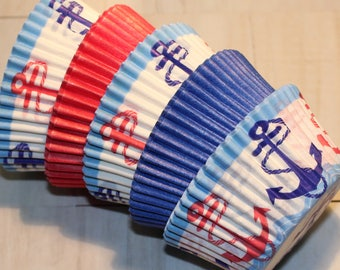 New - Anchors Away Cupcake Liner Collection (Qty 32) Anchors Away Baking Cup Collection, Anchors Cupcake Liners, Blue Baking, Red Baking Cup