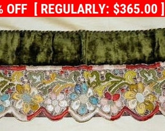 Antique Velvet Embroidery Valance Metallic Chenille French