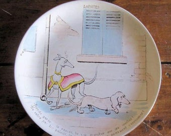 Antique Plate French Sarreguemines Dogs 1 of 3