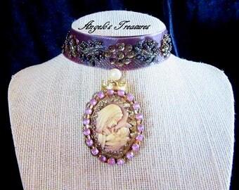 Catholic Virgin Mary with Baby Jesus Cameo Religious Handmade Jacquard  Ribbon Choker Necklace