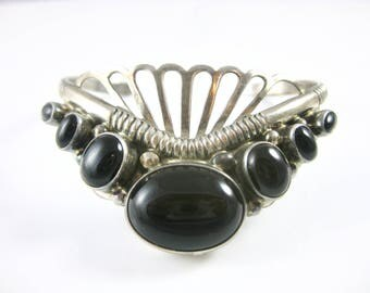Cuff Bracelet, Sterling Silver, Vintage, Mexico, Black Onyx, Woven Silver Bands, 925, Oval Drop Shape Stone