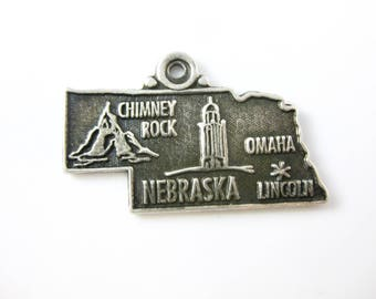 Vintage Sterling Silver Nebraska State Cut Out Charm - Geography Jewelry - Green Enamel Charm - Midwest Sterling Charm Traveler Charm