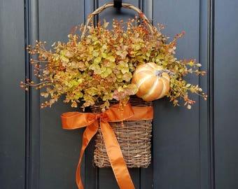 Twoinspireyou, Fall Country Flower Basket, Basket of Flowers, Eucalyptus Wreaths, Twig Flower Basket, Country Cottage Wreath