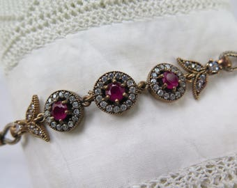 Art Deco Revival Bracelet 925 Silver with Vermiel and Rhinestones in Ruby Red and White