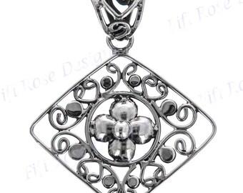 "1 5/16"" Filigree Handmade 925 Sterling Silver Pendant"