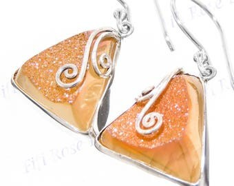 """Us-made 11/16"""" Triangle Pink Titanium Druzy Drusy 925 Sterling Silver Earrings"""